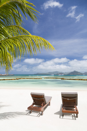 Beach chairs at perfect white beach in La Digue, Seychelles with a scenic coconut palm tree in the foreground Stock Photo