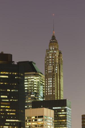 70: 70 Pine Street Skyscraper in New York At Night. Editorial