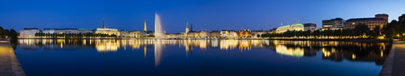 Panoramic shot of the famous Binnenalster lake with its fountain in Hamburg, Germany at night Reklamní fotografie