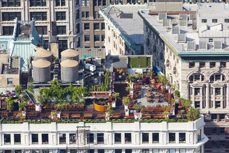 High angle view to lots of gardening on an apartment building roof in Manhattan