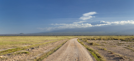 dirt road: Kilimanjaro with snow cap seen from Amboseli National Park in Kenya with a road in the foreground. Stock Photo