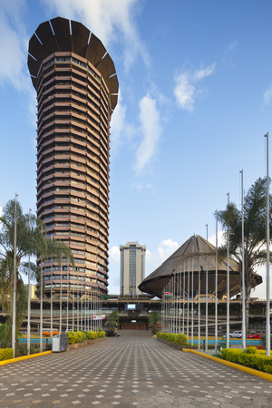 The Kenyatta International Conference Centre, one of the few modern skyscrapers in the business district of Nairobi, Kenya. Shot with a shift lens.