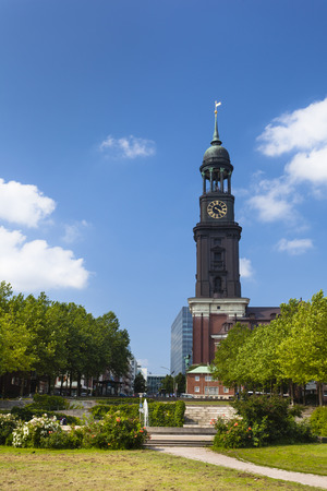 michel: The famous St. Michaelis Church (Michel) in Hamburg, Germany Stock Photo
