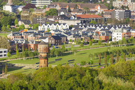 rhine westphalia: Village and park built on top of an old coal mine in western Germany near Aachen.