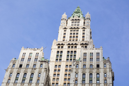 The old Woolworth Building in New York with blue sky