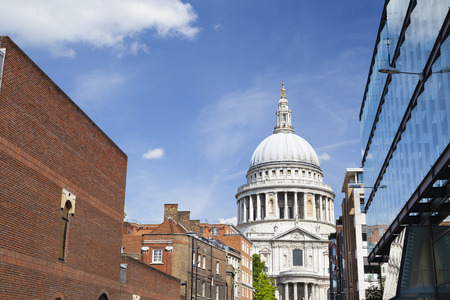 st pauls: St. Pauls Cathedral in London with blue sky Stock Photo