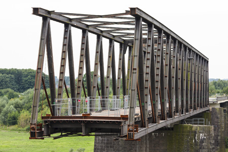 deconstruction: Deconstruction of an old bridge over Rhine river in Wesel, Germany