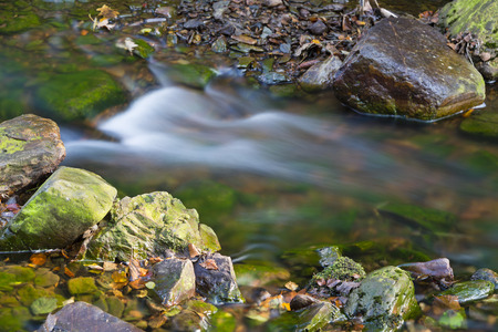 the ardennes: Little rapid in a mountain river in the High Fens, Ardennes, Belgium, long exposure shot