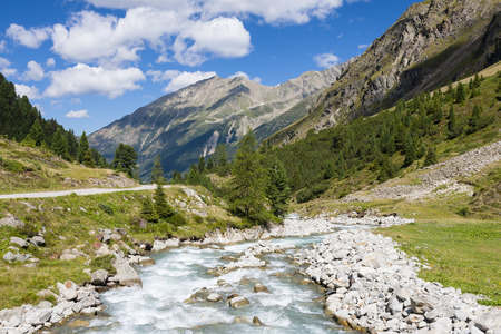 A little stream flowing through grass and stones in the Ötztal, Austria
