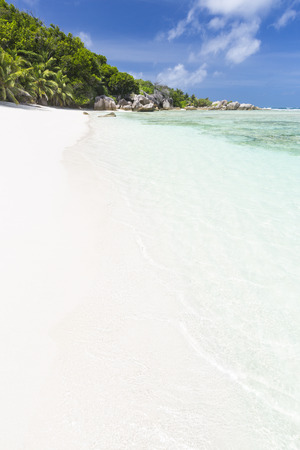pristine corals: Perfect white beach Anse Pierrot near Source DArgent in La Digue, Seychelles with some palm trees