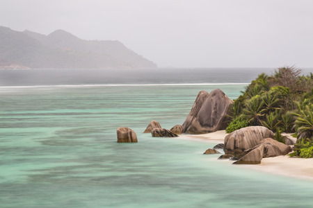 pristine coral reef: Long exposure high angle view of the famous Anse Source DArgent in La Digue, Seychelles