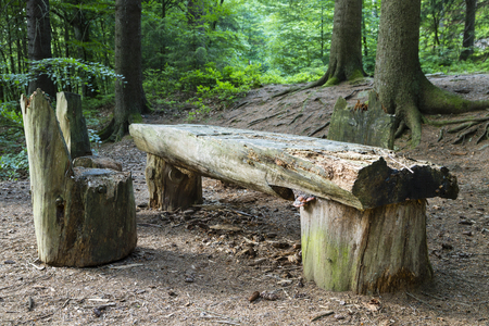 the ardennes: An old table with chairs all made from trees in the middle of a forest. Ardennes, Belgium.