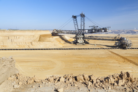 lignite: A giant Bucket Wheel Excavator at work in an endless lignite pit mine