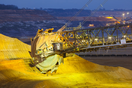 coal mine: A giant Bucket Wheel Excavator in a lignite pit mine at night