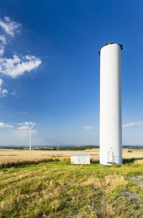 collapsed: A halfway deconstructed wind turbine that collapsed during a storm in the Eifel, Germany.