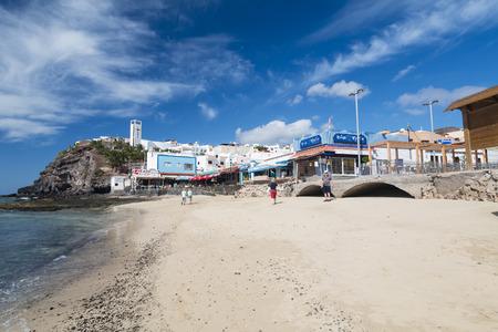 fuerteventura: FUERTEVENTURA - OCTOBER 20: Morro Jable behind Jandia Beach and in Fuerteventura, Spain on October 20, 2013