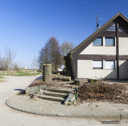 environmental damage: An abandoned house near the pit mine of Garzweiler, Germany