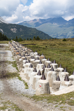 anti war: The anti tank barrier in the Plamort moor on the Italian side of the border to Austria, built in the second world war as part of the Vallo Alpino