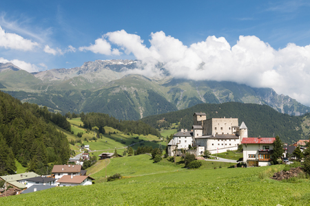 Castle Naudersberg in Nauders, Austria with blue sky Editorial