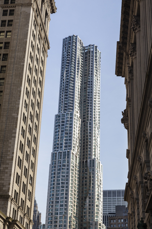 framed: New York City - June 23: The new Beekman Tower by Gehry in New York framed by other skyscrapers on June 23, 2013