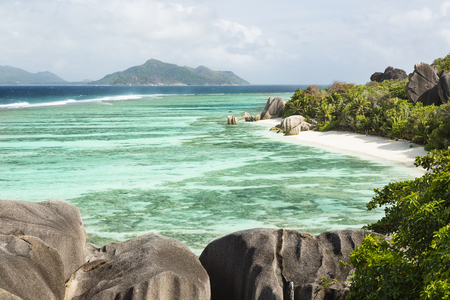 pristine corals: High angle view of the famous Anse Source DArgent in La Digue, Seychelles
