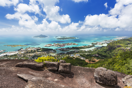 View from Mount Copolia to the southeast of Mahe, Seychelles with the capital Victoria in the foreground Standard-Bild