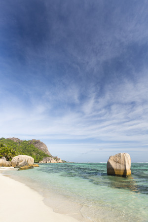 d'argent: Beautiful white beach Anse Source DArgent in La Digue, Seychelles with scenic granite rocks