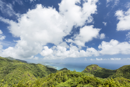 lodge: View from Mission Lodge Lookout to the southwest of Mahe, Seychelles with mountains and jungle in the foreground