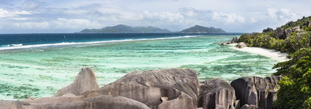 pristine corals: Panoramic high angle view of the famous Anse Source DArgent in La Digue, Seychelles