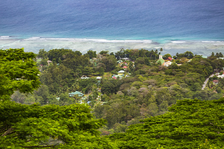 la digue: View from the highest point of La Digue, Nid dAigle down to the coast Stock Photo