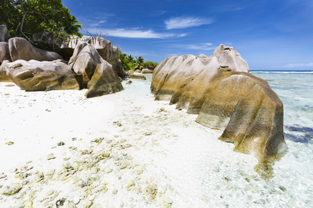 pristine corals: Beautiful white beach Anse Pierrot near Source DArgent in La Digue, Seychelles with granite rocks in the foreground
