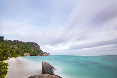 d'argent: Long exposure at the beach Anse Source DArgent in La Digue, Seychelles with scenic granite rocks