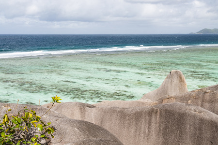 d'argent: View from a large formation of granite rock at the famous Anse Source DArgent in La Digue, Seychelles