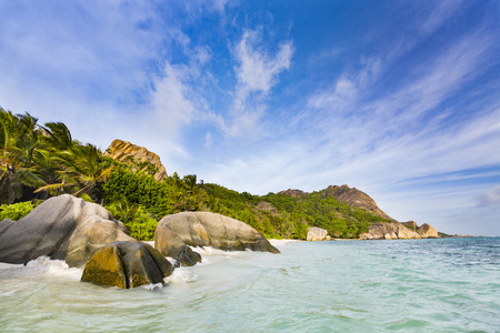 d'argent: Highwater in the lagoon of Anse Source DArgent in La Digue, Seychelles Stock Photo