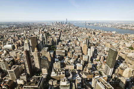 hudson river: High angle view to the skyscrapers in the Financial District of New York, USA with the Hudson River to the right Stock Photo