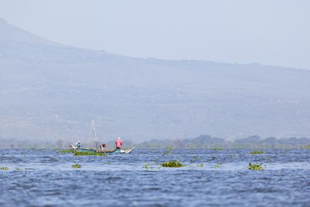 naivasha: Naivasha, Kenya - February 9: Local fishermen at Lake Naivasha, Kenya on February 9, 2013