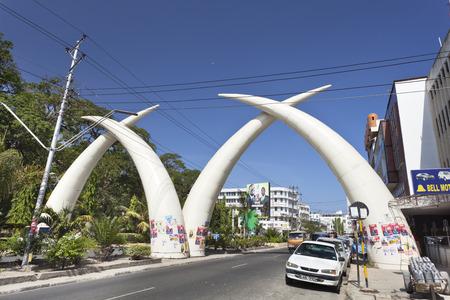 Mombasa, Kenya - February 18: The famous giant elephant tusks on Moi Avenue in Mombasa, Kenya on February 18, 2013