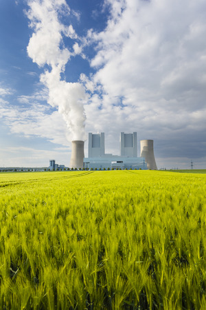 lignite: A shiny new lignite power station behind a rye field