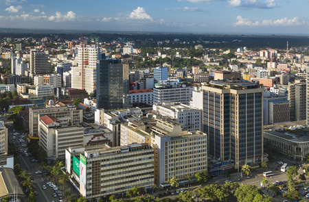 Nairobi, Kenya - December 23: Modern highrises and streets in the business district of Nairobi, Kenya on December 23, 2015
