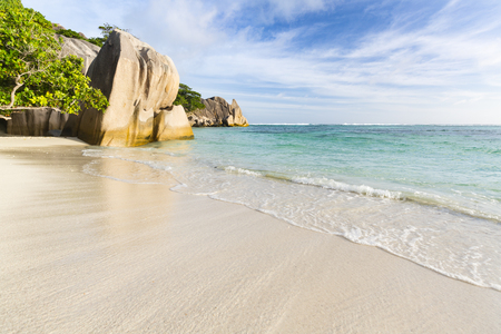 Perfect white beach Anse Source DArgent in La Digue, Seychelles with scenic granite rocks