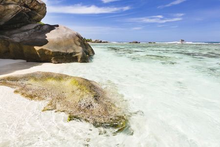 pristine corals: White beach near Source DArgent in La Digue, Seychelles with a algae covered granite rock in the foreground