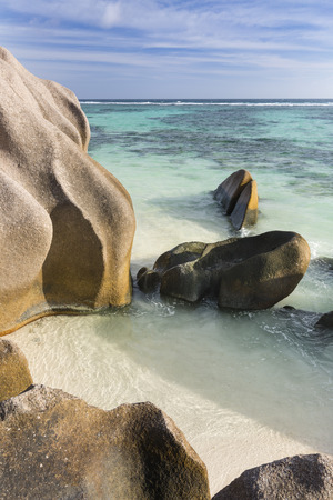d'argent: View from the top of a rock at Anse Source DArgent in La Digue, Seychelles