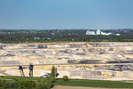 lignite: West German industry landscape with a lignite pit mine in front of a sugar factory