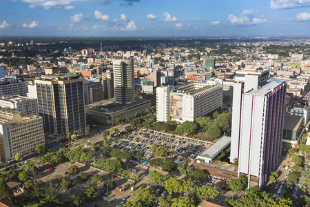 Nairobi, Kenya - December 23: View over the northern part of the business district of Nairobi, Kenya, with the Hilton Hotel to the right on December 23, 2015