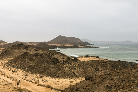 lobos: The Isla de Lobos in Fuerteventura, Spain with the typical moon like volcanic landscape of the island. Stock Photo