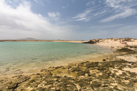 The Isla de Lobos in Fuerteventura, Spain with the Playa de la Concha.