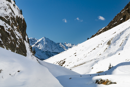 View along Sulztal valley in the Oetztal, Austria to an avalanche area in the snow.
