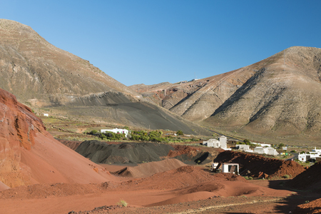 View from the Caldera de Masian in Lanzarote, Spain to the village of Femes.