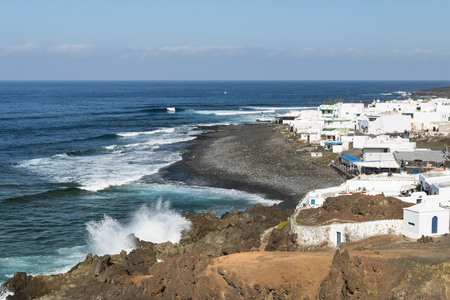 Beach and village El Golfo in Lanzarote, Spain.