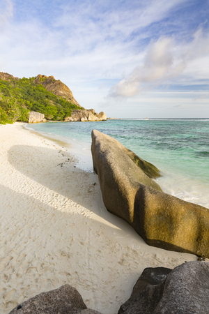 View from the top of a rock at Anse Source DArgent in La Digue, Seychelles